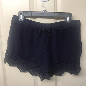 Navy shorts with Lacey trim